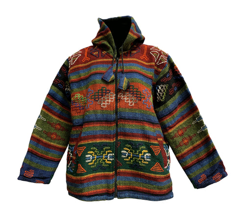 Men's Ethnic Tribal Hand Woven Embroidered Pure Wool Bhutan Jacket - Ambali Fashion
