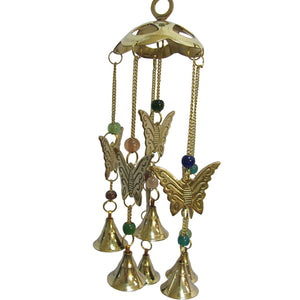 Beaded Butterfly Brass Bell Yoga Zen Meditation Harmony Hanging Wind Chime - Ambali Fashion