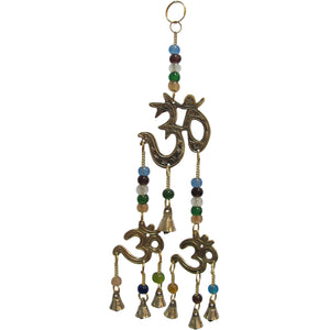 Brass Three Om/Ohm Decorative Seven Bell Wind Chime w/ Beads - Ambali Fashion