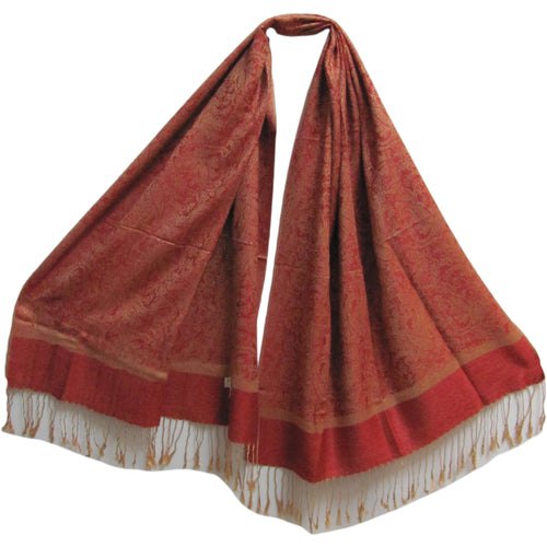 Reversible Red & Gold Paisley Fringe Pashmina Silk Scarf Shawl - Ambali Fashion