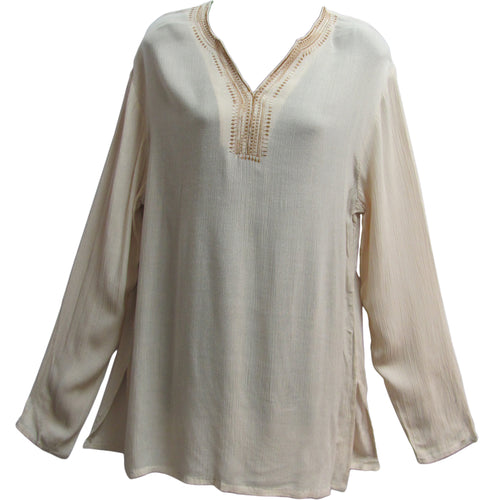 Ivory Indian Bohemian Gauze Cotton Womens Tunic Blouse Kurti - Ambali Fashion