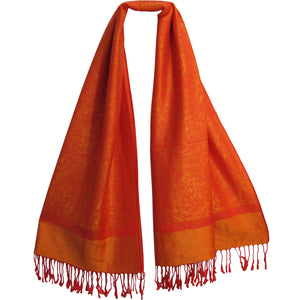 Reversible Jacquard Orange Fringe Paisley Pashmina Silk Scarf Shawl - Ambali Fashion