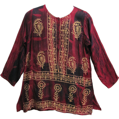 Bohemian Indian Cotton Designer Block Print Mens Kurta Tunic - Ambali Fashion
