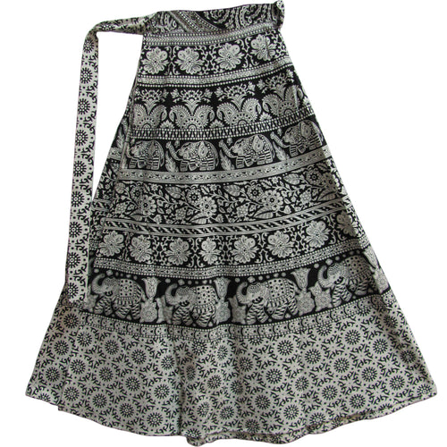 Gypsy Indian Ethnic Black & White Block Print Cotton Wrap Around Long Maxi Skirt - Ambali Fashion
