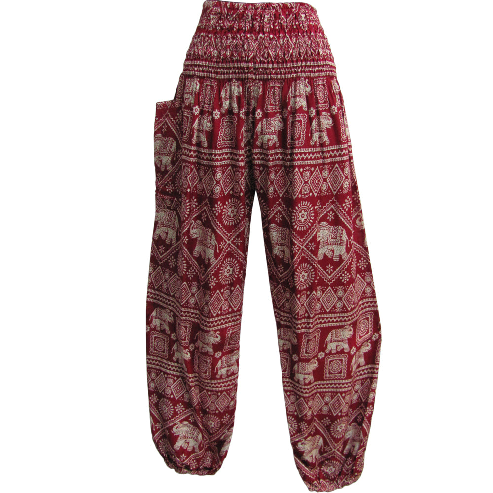 Indian Bohemian Gypsy Elephant Print Meditation Yoga Harem Pants - Ambali Fashion