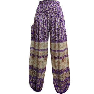 Indian Bohemian Gypsy White Elephant Print Meditation Yoga Harem Pants - Ambali Fashion