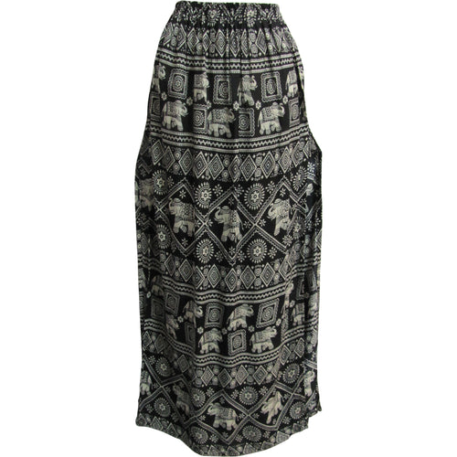 Bohemian Cotton Side Slit A-Line Ethnic Elephant Print Long Maxi Skirt THNONA 7 - Ambali Fashion