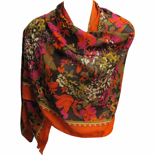 Lightweight Orange & Green Trendy Fashion Floral Print Scarf (28