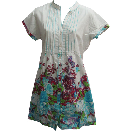 Indian Cotton Mandarin Collar Button Down Paisley Short Sleeve Shift Dress - Ambali Fashion