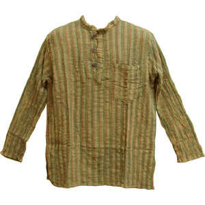 Men's Vintage Indian Heavy Cotton Hippie Ethnic Striped Tunic Shirt - Ambali Fashion