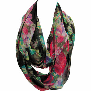 Sheer Chiffon Double Loop Fashion Black Floral Infinity Scarf JK411 - Ambali Fashion