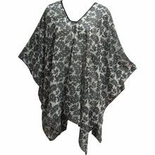 Missy Plus Black & White Leaf Chiffon Fashion Caftan Poncho Blouse Shawl - Ambali Fashion