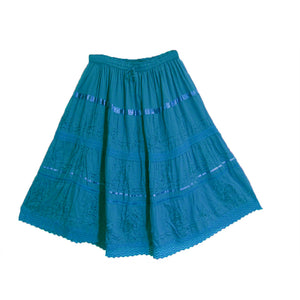 Three-Tier Bohemian Embroidered Cotton Womens Mid Length Skirt - Ambali Fashion