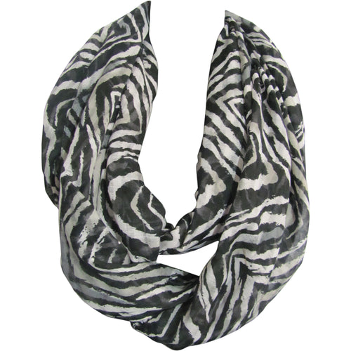 Black & White Zebra Print Trendy Fashion Long Infinity Scarf JK102 - Ambali Fashion