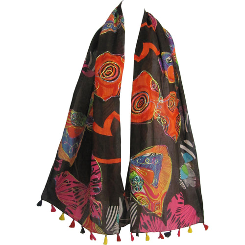 Indian Gauze Cotton w/ Tassels Embroidered Long Butterfly Print Scarf JK103 - Ambali Fashion