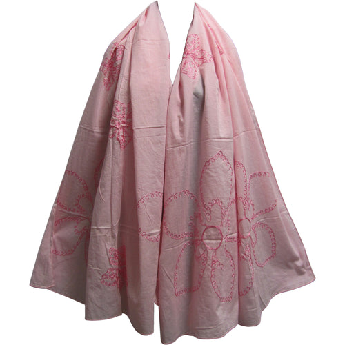 Cotton Embroidered Long Fashion Pink Floral Scarf Stole JK115 - Ambali Fashion