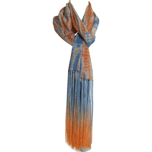Blue & Orange Tie-Dye Soft Indian Cotton Long Fringe Scarf Stole JK140 - Ambali Fashion