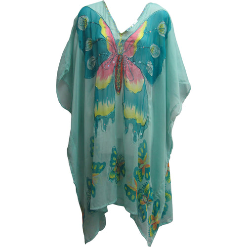 Missy Plus Indian Sequined Chiffon Cover Up Caftan Poncho Blue Butterfly JK #14 - Ambali Fashion