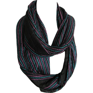 Unisex Striped Trendy Fashion Loop Black Infinity Scarf Muffler JK152 - Ambali Fashion