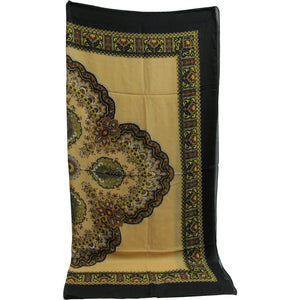 Black/Beige Paisley Floral Border Print Square Scarf Shawl Wrap JK164 - Ambali Fashion