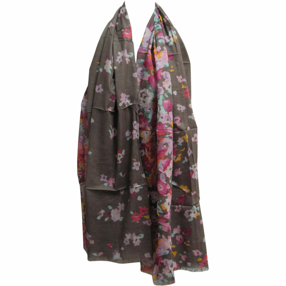 Indian Gauze Cotton Long Floral Print Scarf Shawl Stole Slate Gray JK167 - Ambali Fashion