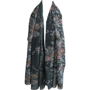 Indian Cotton Shimmering Embroidered Long Floral Scarf Gray/Pink JK170 - Ambali Fashion
