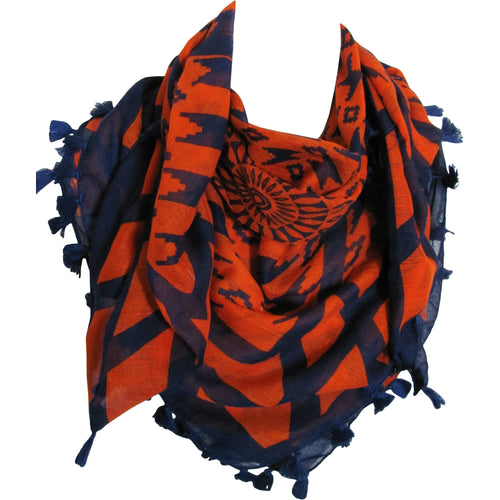 Geometric Indian Tasseled Square Orange and Blue Scarf Shawl JK175 - Ambali Fashion