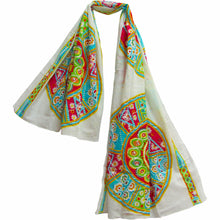 White Indian Cotton Bohemian Embroidered Sequin Sarong Large Scarf Pareo JK249 - Ambali Fashion