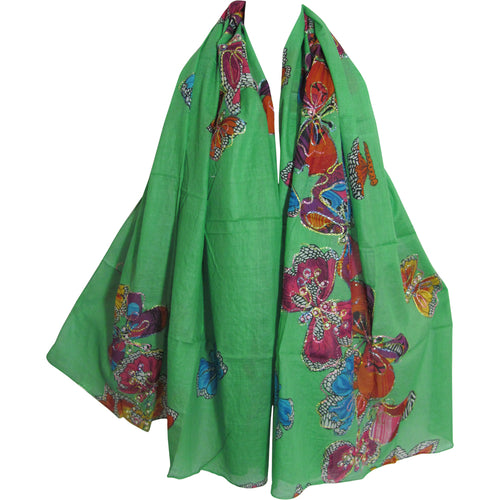 Sea Green Butterfly Scarf Cotton Shimmering Embroidered Long Shawl JK260 - Ambali Fashion