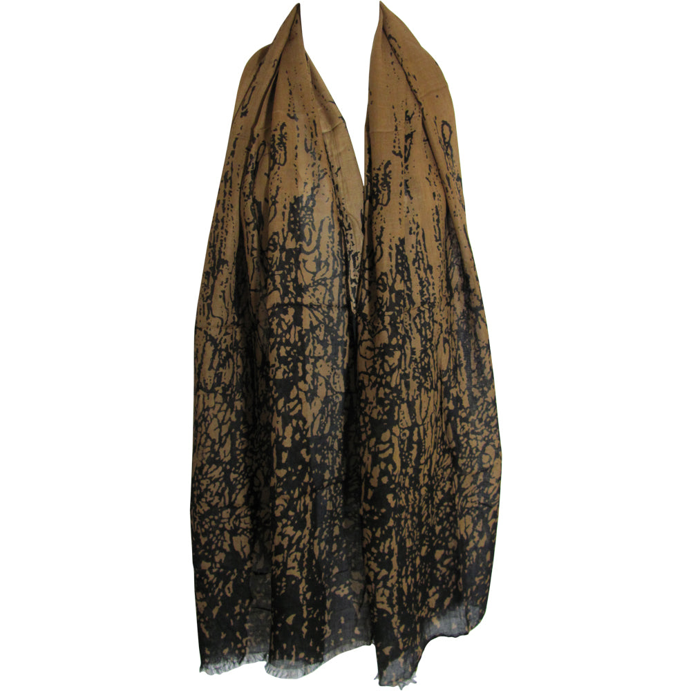 Brown Black Earth Tone Fringed Indian Cotton Long Scarf Stole Wrap JK261 - Ambali Fashion