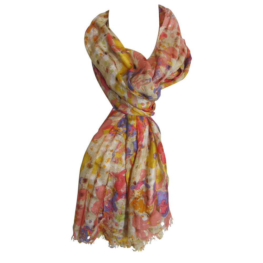 Indian Open Weave Floral Lightweight Long Woven Scarf Shawl JK318 - Ambali Fashion