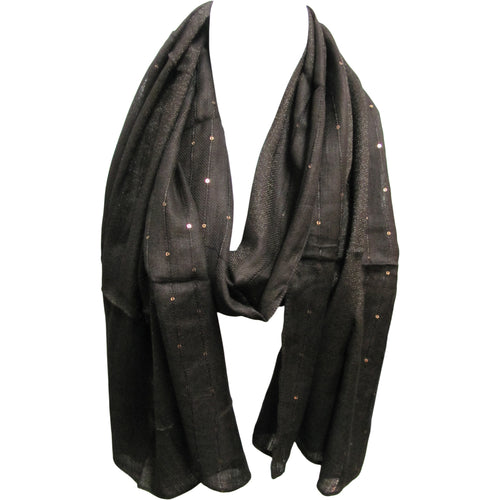 Dark Brown Sequined Lurex Shimmering Long Fashion Scarf Shawl Wrap JK322 - Ambali Fashion