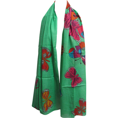 Indian Gauze Cotton Long Butterfly Print Scarf Sarong Shawl - Ambali Fashion