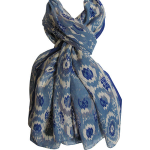 Blue & White Fashion Long Tribal Print Scarf Shawl Wrap JK329 - Ambali Fashion