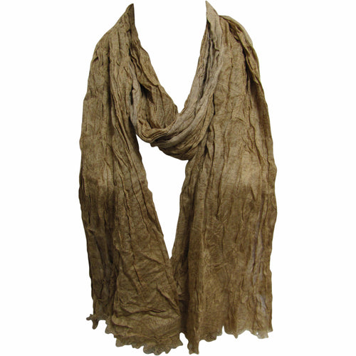 Beige-Brown Soft Crinkled Trendy Unisex Wrap Shawl Long Fashion Scarf JK330 - Ambali Fashion