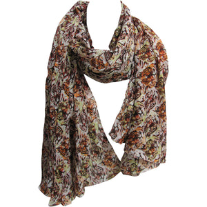 Crinkled Indian Cotton Beige & Brown Tiger Print Long Fashion Scarf JK332 - Ambali Fashion
