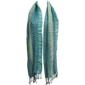Indian Open Weave Blue Tone Lightweight Fringed Long Woven Scarf Shawl JK333 - Ambali Fashion