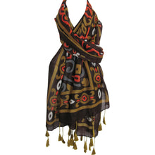 Vintage Earth-Tone Indian Ethnic Tasseled Fashion Tribal Print Scarf JK38 - Ambali Fashion