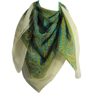 Turquoise & Yellow Indian Square Paisley Sheer Chiffon Scarf Shawl JK4 - Ambali Fashion