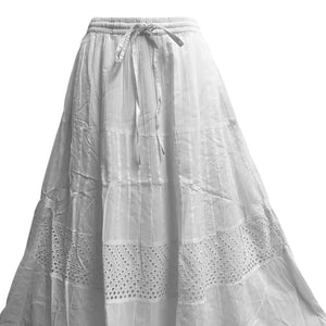 Bohemian White Eyelet Tiered Indian Fine Gauze Cotton Long Maxi Skirt JK4 - Ambali Fashion