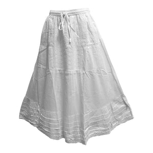 Bohemian White Eyelet Tiered Indian Fine Gauze Cotton Long Maxi Skirt JK5 - Ambali Fashion