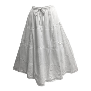 Bohemian White Eyelet Tiered Indian Fine Gauze Cotton Long Maxi Skirt JK6 - Ambali Fashion