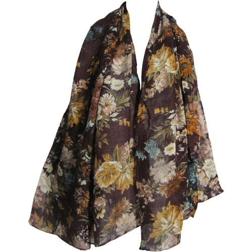 Brown Floral Print Long Fashion Scarf Stole JK87 - Ambali Fashion