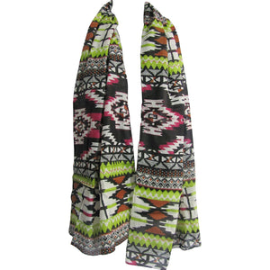 Aztec Print Embroidered Sequin Indian Cotton Long Fashion Scarf Stole JK94 - Ambali Fashion
