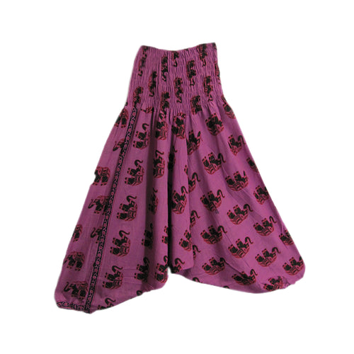 Bohemian Indian Cotton Elephant Print Gypsy Aladdin Alibaba Yoga Harem Pants - Ambali Fashion