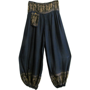 Unisex Aladdin Ethnic Egyptian Hieroglyphics Print Hippie Harem Pants - Ambali Fashion
