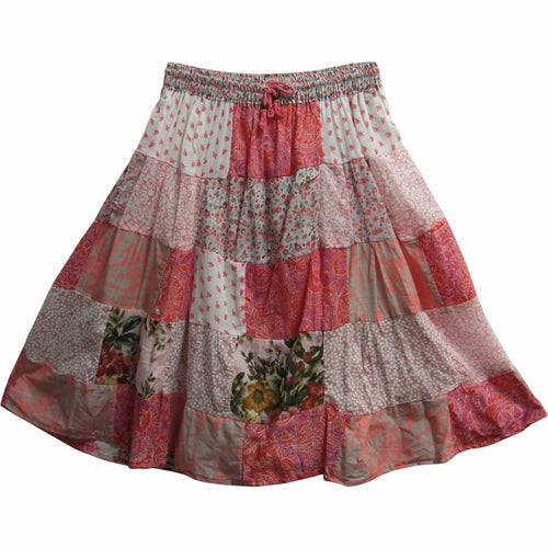 Indian Bohemian Gypsy Vintage Ethnic Patchwork Cotton Mini/Mid Length Skirt - Ambali Fashion