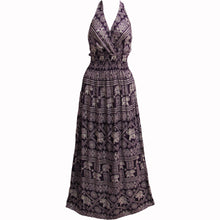 Halter Neck Elephant Print Bohemian Sleeveless Cotton Long Maxi Dress THNONA6 - Ambali Fashion