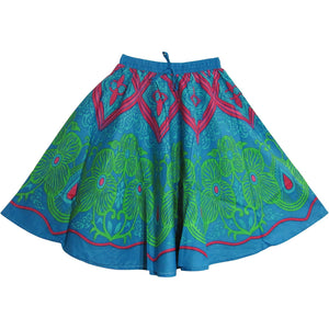 Indian Bohemian Paisley Ethnic Umbrella Cut Cotton Mini/Mid Length Skirt Rupa - Ambali Fashion