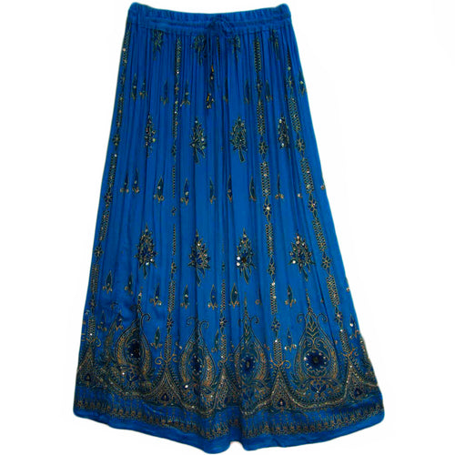 Womens Indian Sequin Crinkle Broomstick Gypsy Long Skirt - Ambali Fashion